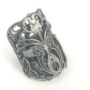 Folkloric Exotic Floral Cocktail Ring Filigree
